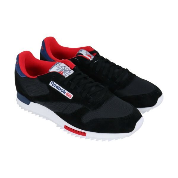 Reebok Classic Leather Ripple Clip Mens Black Suede Low Top Sneakers Shoes