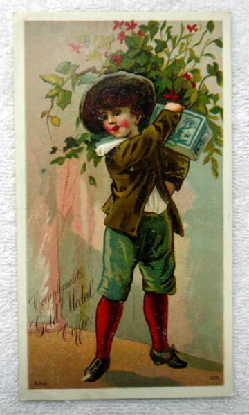 GOLD MEDAL COFFEE TRADE CARD BOY WITH PACKAGE #6