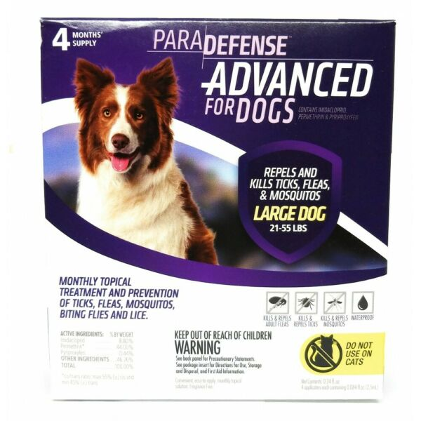 Dog Flea amp; Tick Treatment Para Defense 21 to 55 LBS 4 ds Topical $24.75
