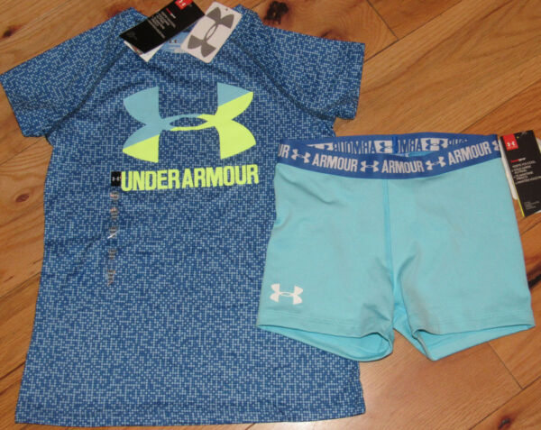 Under Armour logo patterned top amp; bike shorts NWT girls M YMD blue 10 12 $28.99
