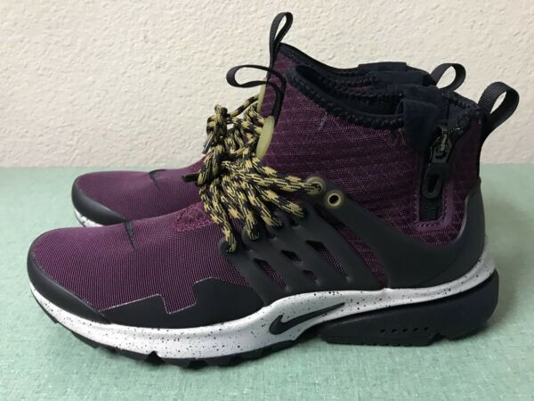 Nike Air Presto Mid Utility Bordeaux Grey Black Mens Sz 6/ Women's Sz 7.5 NEW!!!