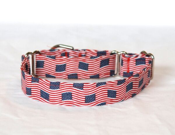 1quot; Small whippet Martingale Dog Collar Small Wavy Flags $10.50
