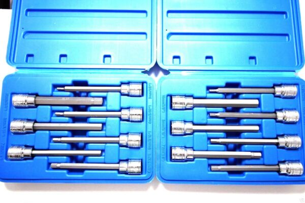 14 PC EXTRA LONG HEX BIT SOCKET ALLEN WRENCH SET SAE AND METRIC COMBO TOOL