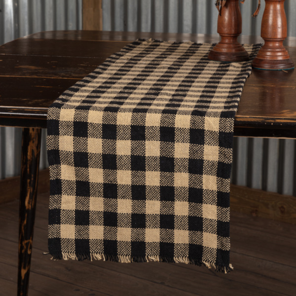 Burlap BLACK TAN CHECK Table Runner 13quot; x 36quot; Country Primitive Farmhouse Rustic