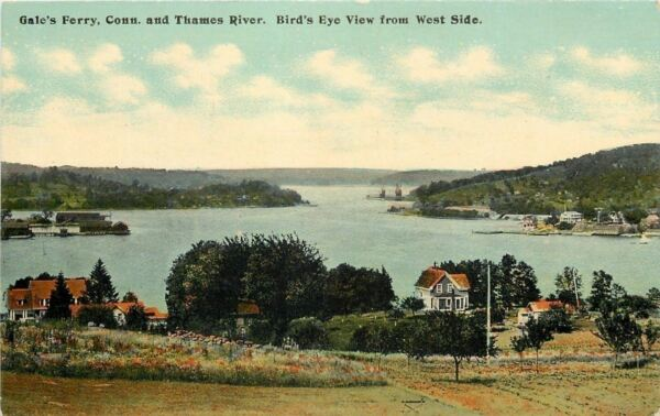 Gale's Ferry Connecticut~Thames River~Birds Eye From West Side~Homes~1910