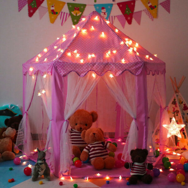 Kids Princess Play Tent In Outdoor Fun Toy Girls Fairy Castle House w LED Light $29.78