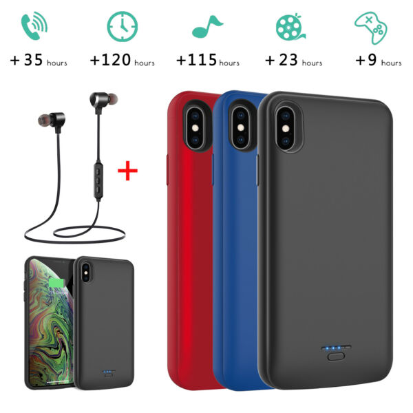 For iPhone X XR XS Max Battery Charging Case Power Bank Backup Charger Headset