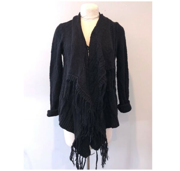 Devine Doll Women Black Cable Knit Open Cardigan Size L A028