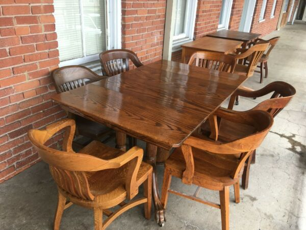 ANTIQUE VINTAGE WORMY CHESTNUT EXPANDABLE LIBRARY OR KITCHEN OR CONFERENCE TABLE