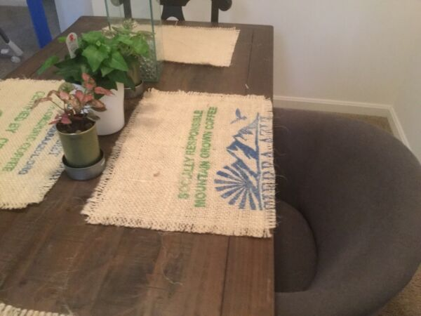 Coffee Beans Bag Burlap Placemats with frayed edges Set of 4 Burlap Placemats