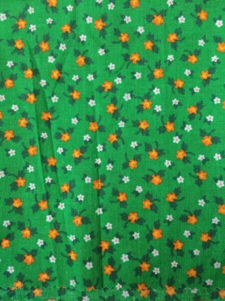 Vtg 70s bright green calico cotton fabric Yellow  posy flower 15 X 18