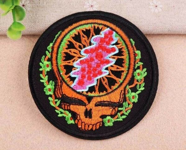 GRATEFUL DEAD Iron On Patch : Steal Your Face : Embroidered Badge : 3.5 inches
