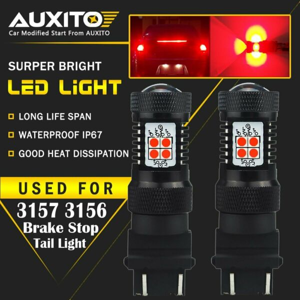 2X AUXITO 3157 3156 3057 Brake stop Tail Light Bulb Super Red LED 14K For GMC EA $17.59