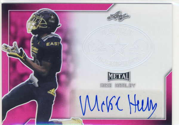 MIKE HARLEY 2017 Leaf Metal US Army All American Pink AUTO 20 MIAMI $14.99
