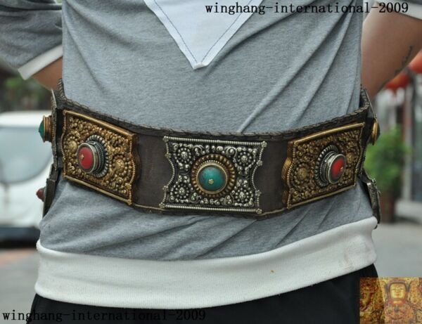 Tibet leather silver Gilt Inlay turquoise gem Eminent monk belt waistband girdle