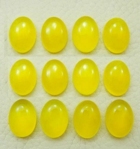 Lot 10x12mm To 18x25mm Oval Cabochon- Natural Yellow Chalcedony Loose Gemstone