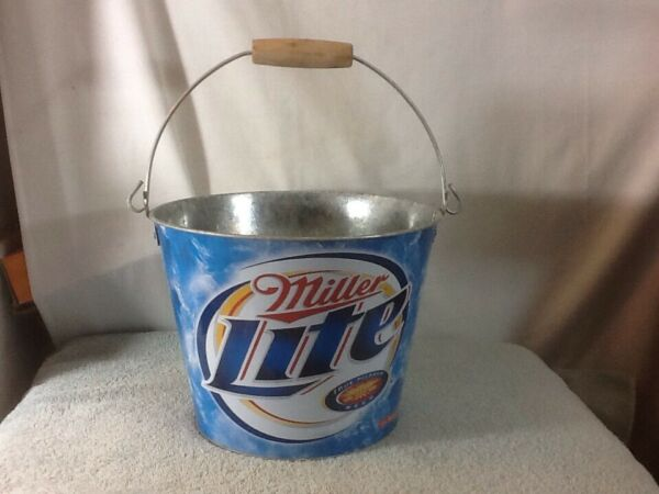 Cool MILLER LITE Ice BucketPailTin Beer Holder with Wooden Handle 5 Qt pre-own