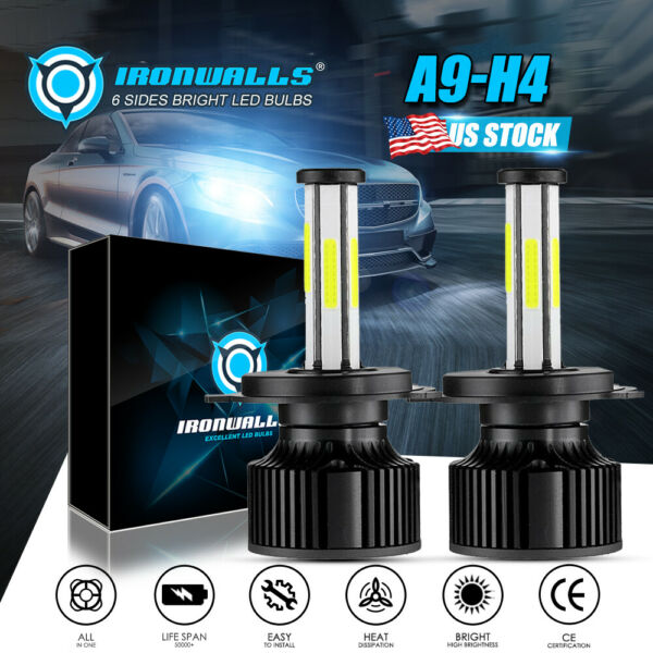 PAIR H4 HB2 9003 300000LM 2000W LED Headlight Kit Hi/Lo Beam Bulbs 6000K White