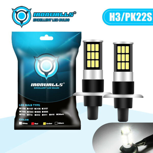 H3 CREE LED Fog Light Bulbs Conversion Kit Super Bright DRL 6000K White 100W