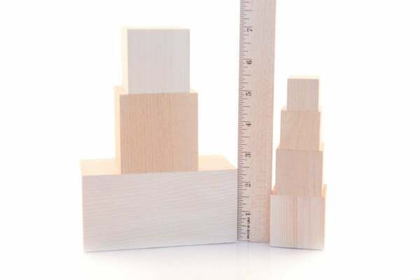 100pcs 1quot; 2quot; Wooden Blocks DIY Wood Cubes Square Blocks Solid Wood Blocks Craft