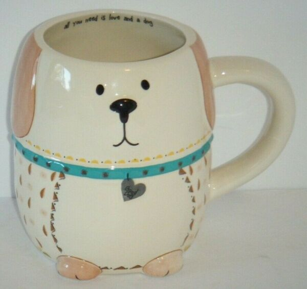 Cute Puppy Dog Shaped Coffee Mug quot;All You Need Is Love And A Dogquot; Natural Life $21.76