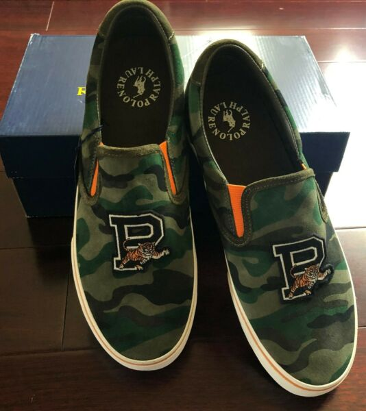 Polo Ralph Lauren Tiger P patch Suede Camo Slip on Shoes Men Size 12 NEW $55.15