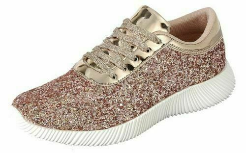 New Women Sequin Glitter Lace Up Fashion Shoes Comfort Athletic Casual Sneakers