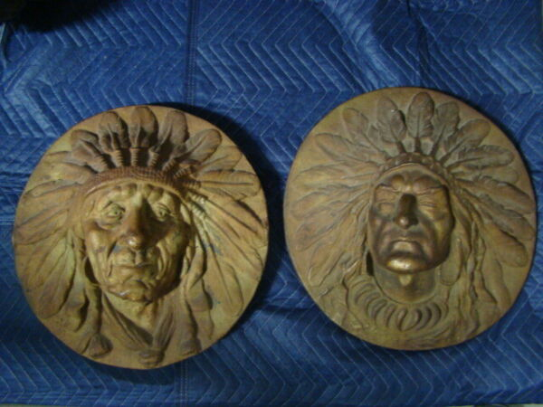 2 Late 19th Century Large Cast Iron Indian Chief Building Plaque Reliefs Nice!!