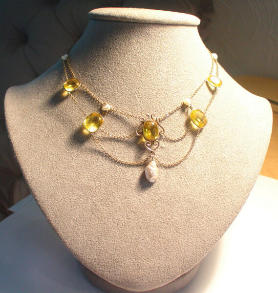 GEORGIAN VICTORIAN 10K CITRINE BAROQUE PEARL SWAG FESTOON NECKLACE