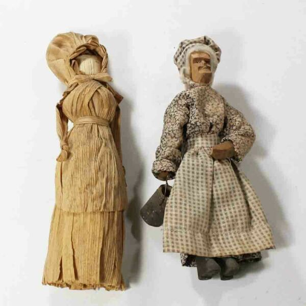 Vintage Woman with Bonnet Corn Husk Doll & Old Woman w Pail Wood Carved Doll