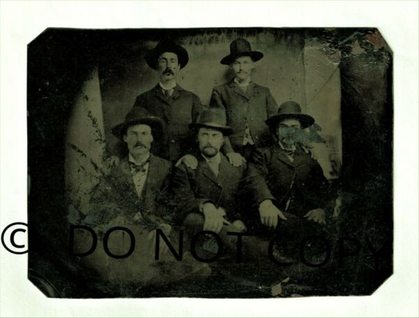 Old Original Tintype Photo of 5 Lincoln County Regulators Old American Wild West