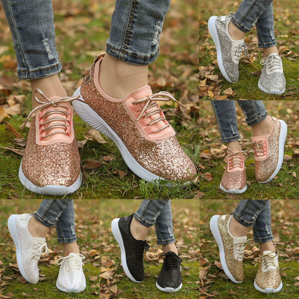 Women Sequin Glitter Lace Up Lightweight Walking Athletic Shoes Comfort Sneakers