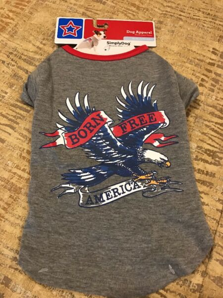 SIMPLY DOG Gray T Shirt quot;BORN FREE AMERICAquot; EAGLE 4TH of July Puppy Dog medium $14.50
