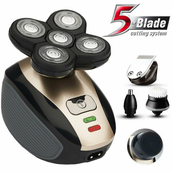 5IN1 4D Rotary Electric Shaver Rechargeable Bald Head Shaver Beard Trimmer NEWS