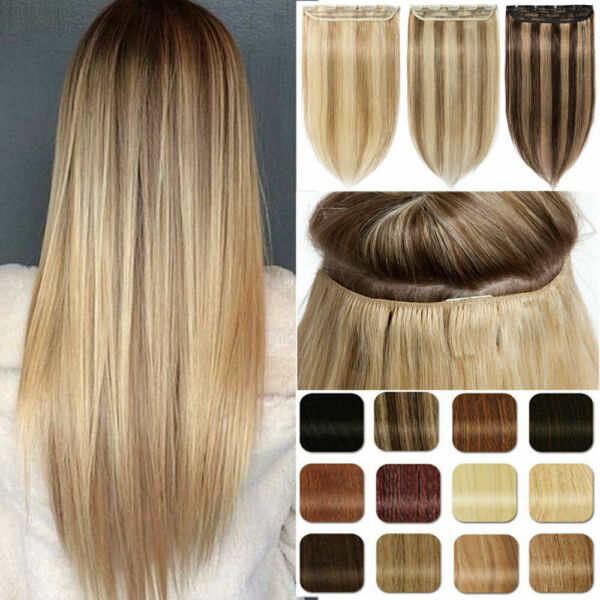 Invisible Clip in One Piece THICK Remy Human Hair Extensions Half Full Head UK H