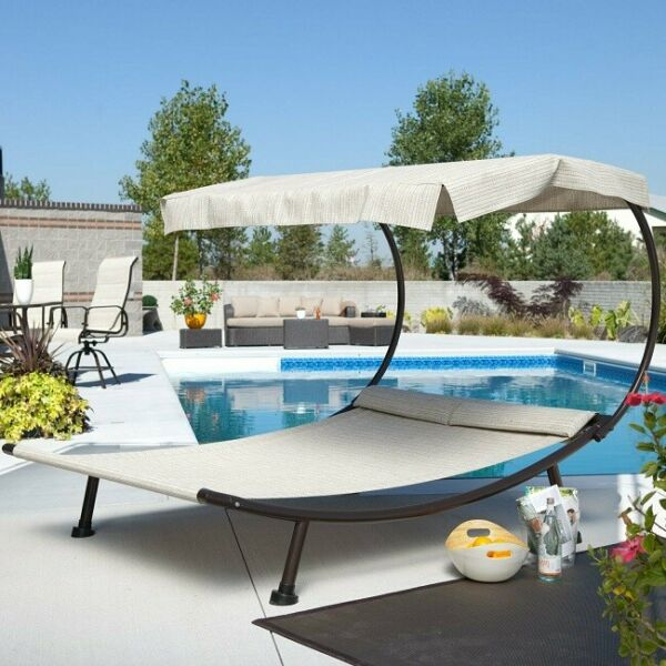 Outdoor Double Chaise Lounge Canopy Chair Poolside Daybed Sun Shade Hammock New