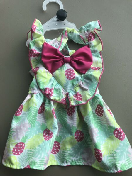 Simply Wag YELLOW PINK PINEAPPLES Summer Strappy Dress Puppy Dog medium $16.50