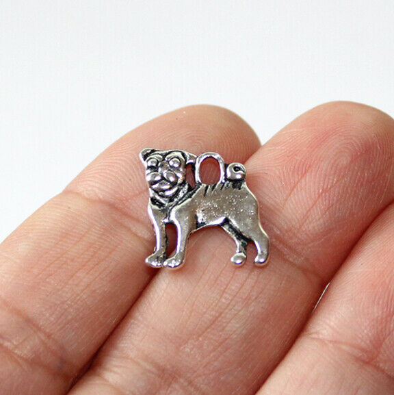 Dog Charms Antique Silver Tone two sided 10 charms in one lot $1.68