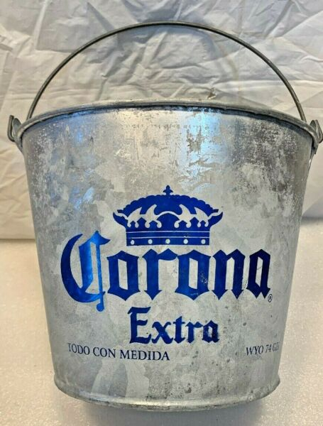 CORONA EXTRA BEER..Galvanized Bucket Pail W Handle..Ice Beer Cooler Pail