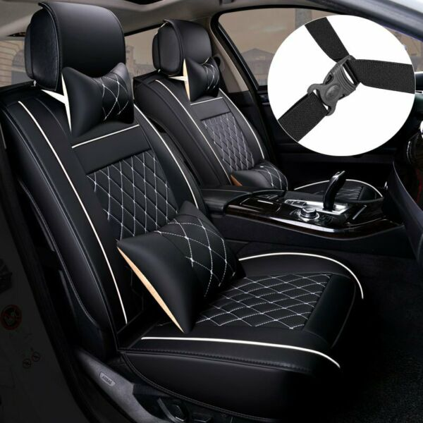 PU Leather 5 Seats SUV Front amp; Rear Car Seat Cover Cushion Full Set Universal $77.88