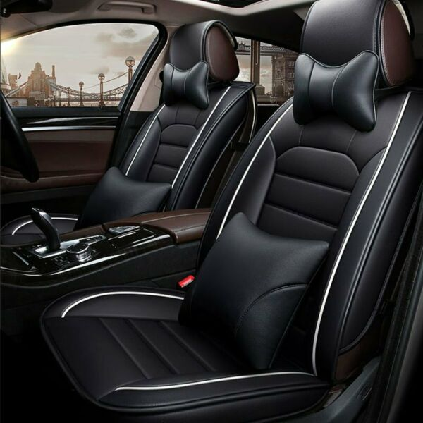 Universal 5D PU Leather Car SUV Seat Covers Front Rear Deluxe Auto Cushion Black $68.88