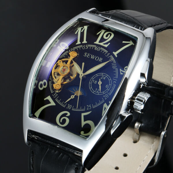 Mens Watch Automatic Black Dial Faux Leather Band Arabic Numerals Classic Luxury $25.73