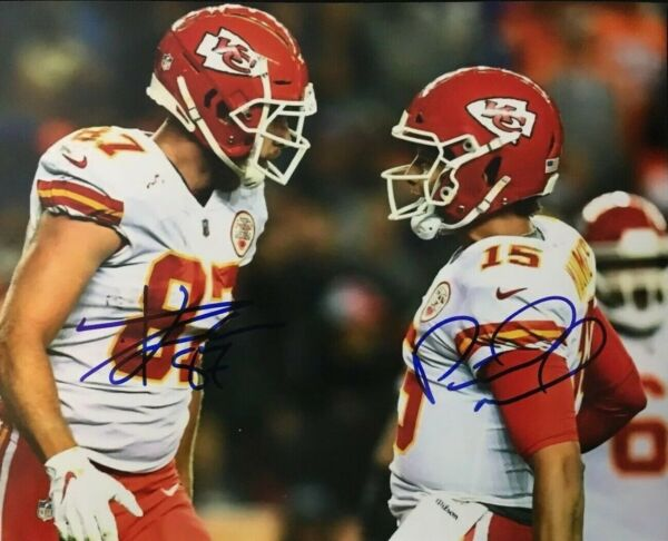 Patrick Mahomes  Travis Kelce CHIEFS Signed Autographed 8 x 10 Photo REPRINT
