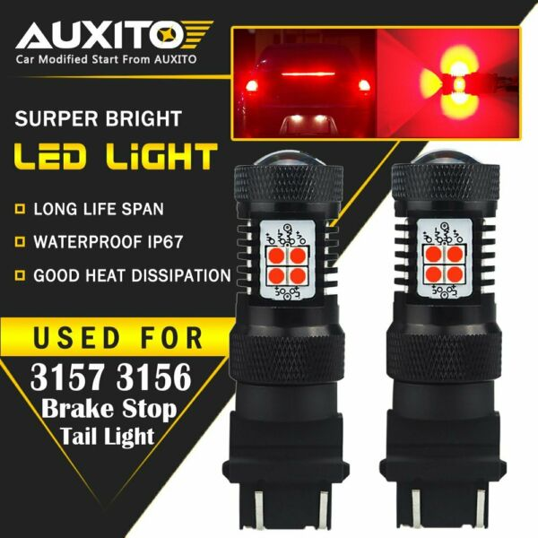 2X AUXITO 3157 3156 Turn Signal Brake Tail Light Bulb Super Red LED 14K For Ford $15.99
