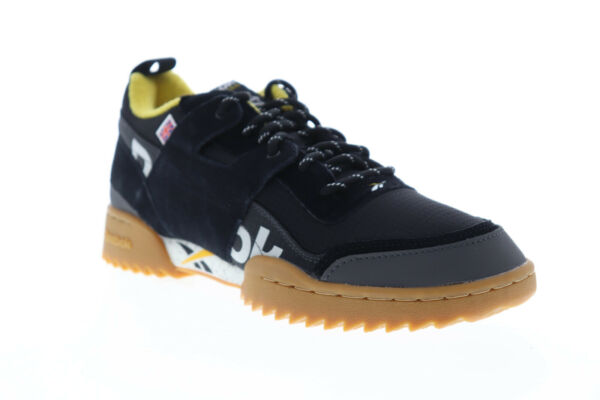 Reebok Workout Plus Ripple MU Classic Mens Black Casual Low Top Sneakers Shoes