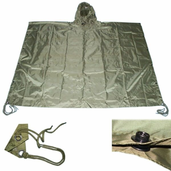 OD GREEN Nylon Military USMC Style All Weather Poncho Rain Coat Camping Hiking