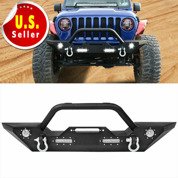 For Jeep Wrangler 18-19 JL Front Bumper WD-rings & Built-in LED Lights
