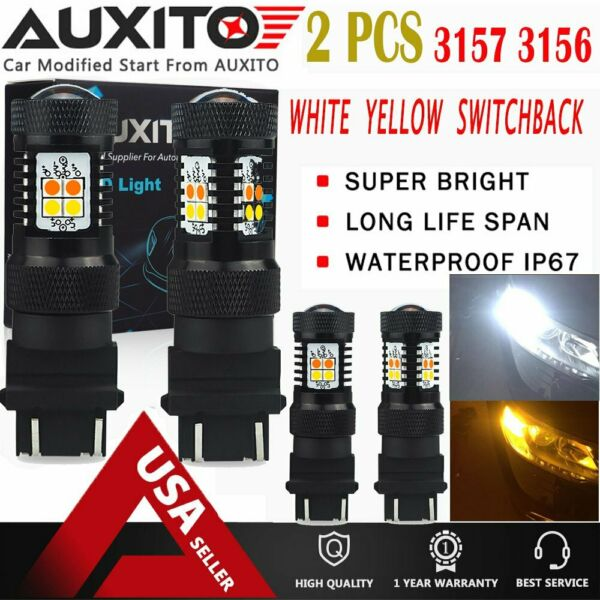 4X AUXITO 3157 3156 white Amber Switchback LED Turn Signal Light Bulb For Ford A