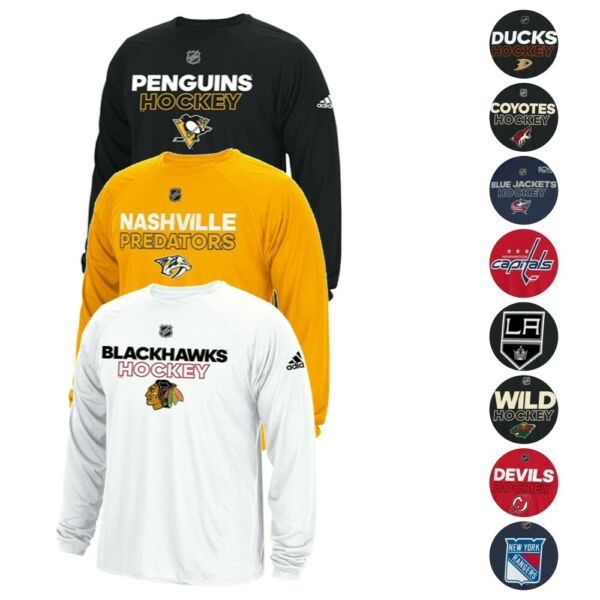 NHL Adidas Men's Authentic Climalite Performance Long Sleeve T-Shirt Collection