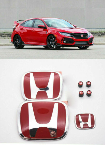RACING SET Red H Emblem Front Rear Steering Fit 2016-20 HONDA CIVIC HATCHBACK